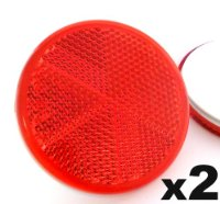 Reflectors Self-Adhesive Stick On x2 Red Round Circular Trailer Caravan 60mm - FREE FIRST CLASS UK POSTAGE!