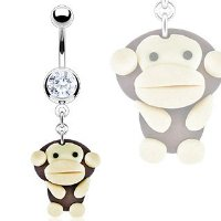 Hardened Clay Cheeky Monkey Dangle Belly Bar