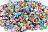 10 x Random Colour Glass Beads Value Pack - Silver Plated Charm Beads - fit Pandora, Chamilia etc style Bracelets - SpangleBead - No Duplicates!