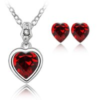 Swarovski Red Heart Crystal Elements Earrings & Pendant Set