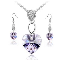Lavender Swarovski Heart Crystal Elements Earrings & Pendant Set