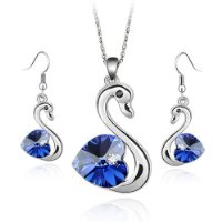 Blue Swarovski Crystal Elements Earrings and Pendant Set