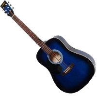 Rikter D2 Full Sized Left-Handed Dreadnought Acoustic Guitar - Blue Burst