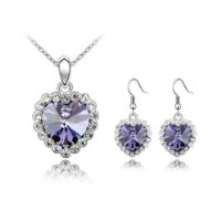 Tanzanite Titanic Heart Swarovski Crystal Elements Earrings & Pendant Set