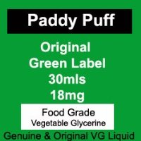 Paddy Puff (TM) 18mg Green Label Food Grade VG/ PG E-Liquid 30mls