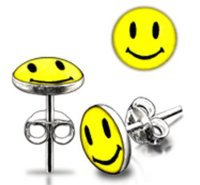 Pair of 8mm Round Sterling Silver 925 Smiley Face Stud Earrings - Supplied in Gift Box