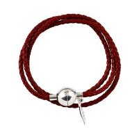 Amore & Baci Silver 'Red' Leather Wrap Bracelet - Compatible with Pandora Chamilia And Troll Beads