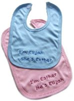 TWINS!! Personalised Baby Bibs Two in Pack - Great New Born Gift Please Write Baby Names Required & Bib Colour Choice (Pink, Blue, Lemon, White or Cream) in The Gift Note Box - This Appears on the WRAP Page During Checkout