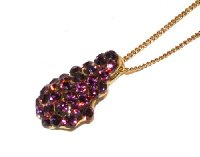 Beautiful Sparkling Crystal AMETHYST (VIOLET) Necklace Swarovski Elements pendant 22mm + 45cm chain 24K GOLD finish. Available in various colours.
