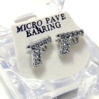 Gun Pistol Style Stud Diamante Bling Earrings with Gift Box - Rhodium Plated Silver Tone (Studs measure approx. 1 cm x 1 cm))