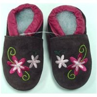 Suede Baby Shoes Pink Flowers 18-24 months