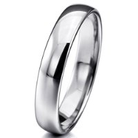 MunkiMix Wide 4mm Tungsten Ring Band Silver Comfort Fit Wedding Size P Men