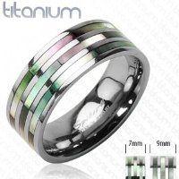 Solid Titanium with Triple Abalone Inlayed Band Ring / Commitment Ring