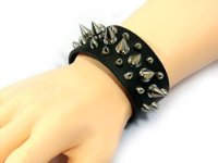 Black Studded Spiked Pu Leather Bracelet ideal for Motorcycle Bikers or Gothic Wristband Wrist Strap- PU Black Synthetic Leather