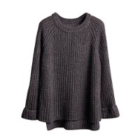 Eleery Women New Plain Oversized Round Neck Long Sleeve Knit Sweater Cardigan Loose Jumper Outwear Knitwear (Dark Gray)