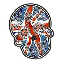 Mexican Day Of The Dead Sugar Skull UNION JACK British Flag motif Vinyl Car Bike Sticker Decal 120x90mm approx.