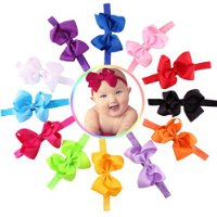 FEITONG Cute 12PC Kids Toddlers Elastic Bowknot Flower Hairband Photography Headbands
